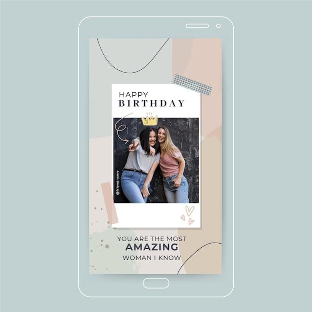 História de feliz aniversário no instagram Vetor grátis