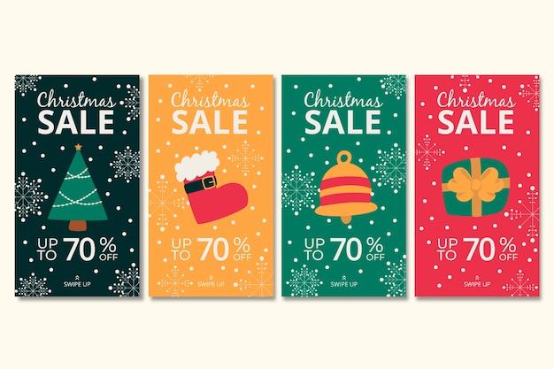 História de instagram de venda de natal definida Vetor grátis