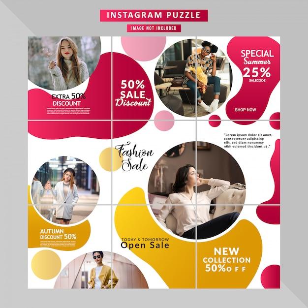 História de quebra-cabeça de mídia social de moda Vetor Premium