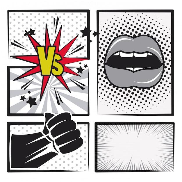 História em quadrinhos cartoon de arte pop em preto e branco Vetor Premium