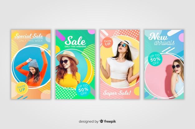 Histórias abstratas coloridas do instagram de venda com foto Vetor grátis
