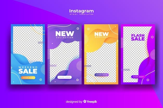 Histórias abstratas coloridas do instagram de venda Vetor grátis