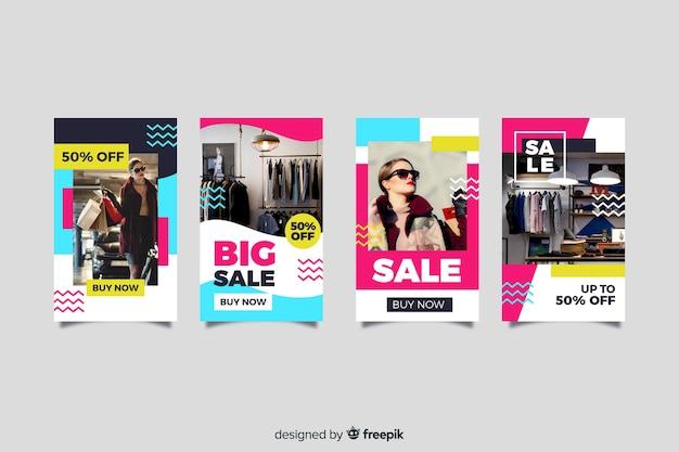 Histórias abstratas do instagram de venda de moda Vetor grátis