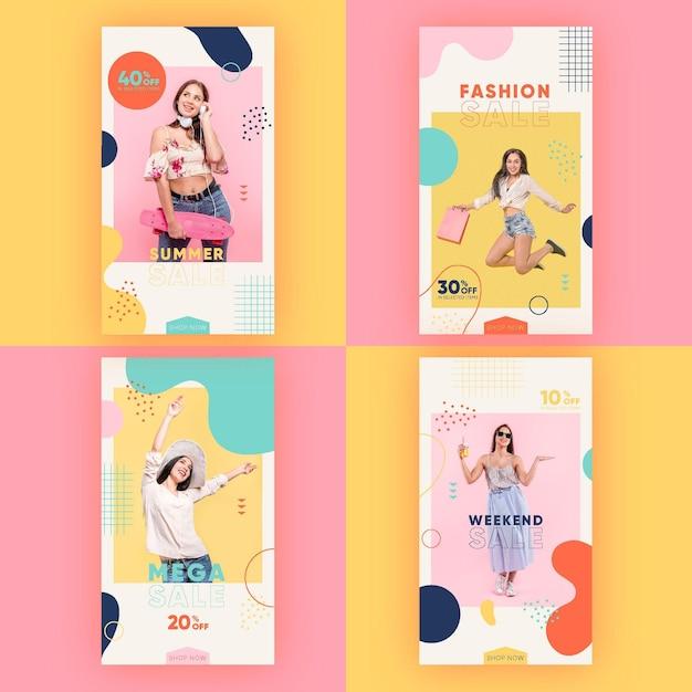 Histórias coloridas do instagram de venda Vetor grátis