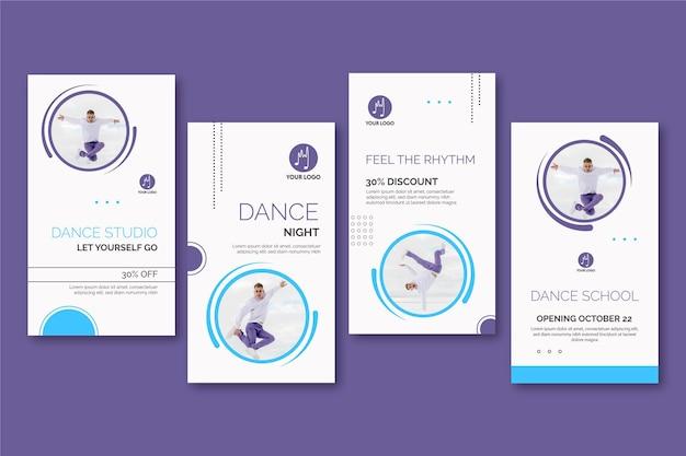 Histórias dançando instagram Vetor Premium