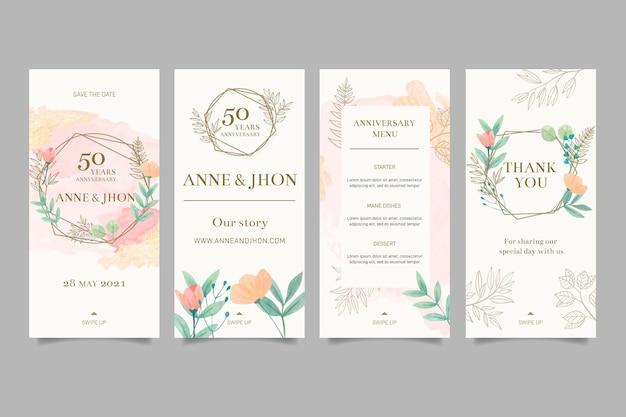 Histórias de aniversário de casamento no instagram Vetor Premium