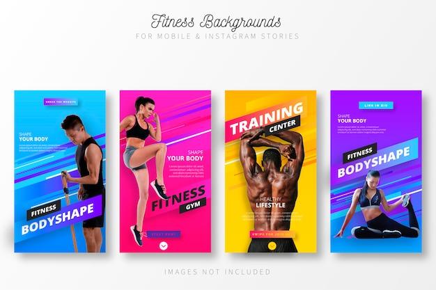 Histórias de fitness para insta Vetor grátis