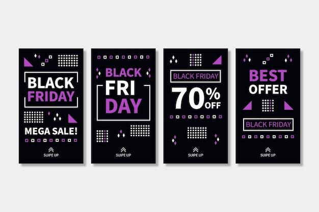 Histórias de instagram de black friday design plano Vetor grátis