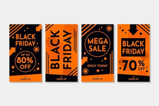 Histórias de instagram de black friday design plano Vetor Premium