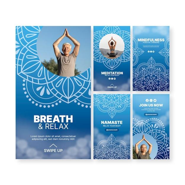 Histórias de instagram de meditação de ioga Vetor grátis