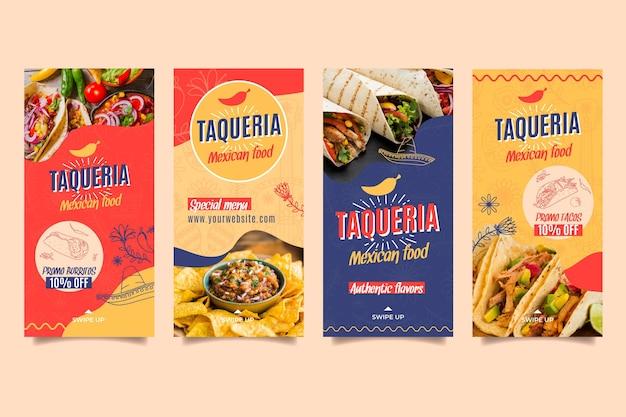 Histórias de instagram de restaurante mexicano Vetor grátis
