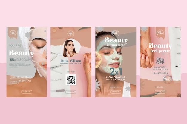 Histórias de instagram de salão de beleza e saúde Vetor grátis