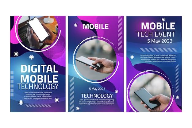 Histórias de instagram de tecnologia móvel Vetor Premium