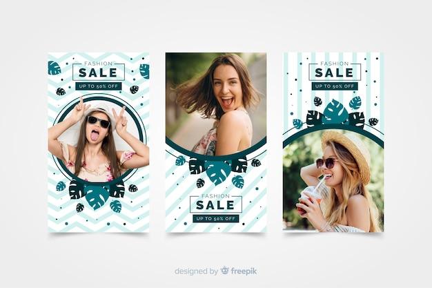 Histórias de instagram de venda de moda com foto Vetor grátis