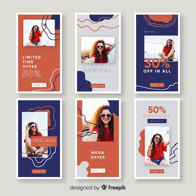 Histórias de instagram de venda de moda Vetor grátis