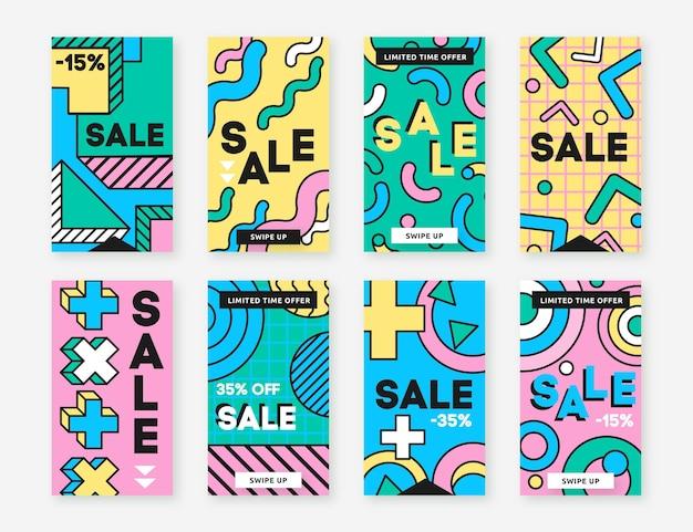 Histórias de instagram de vendas de formas geométricas Vetor Premium