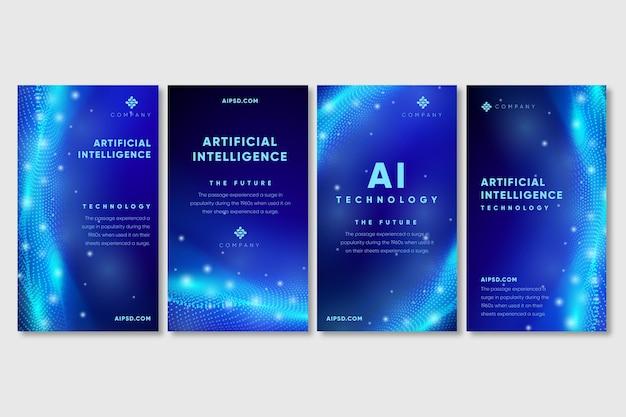 Histórias de inteligência artificial no instagram Vetor grátis
