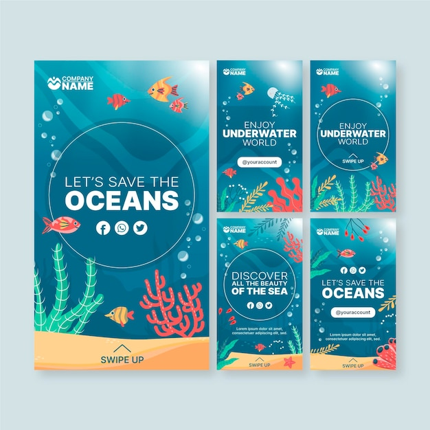 Histórias de mídia social de ecologia de oceanos Vetor Premium
