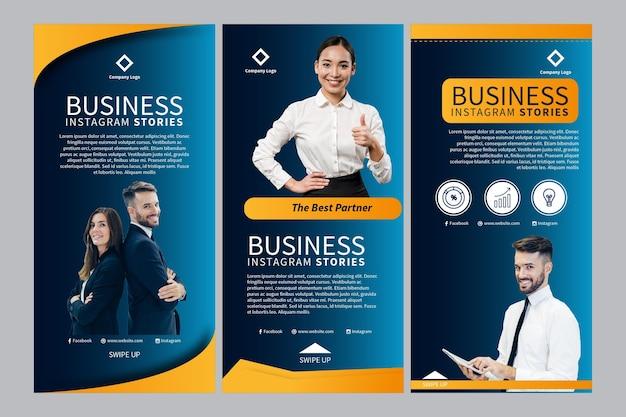 Histórias de negócios no instagram Vetor Premium