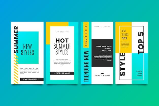 Histórias de venda coloridas abstratas do instagram Vetor grátis