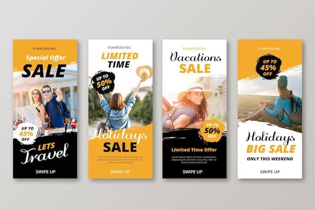 Histórias de venda de viagens no instagram Vetor grátis