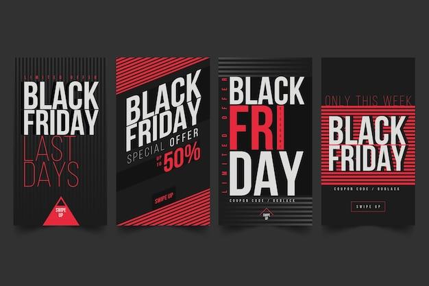 Histórias do instagram de black friday Vetor Premium
