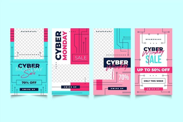 Histórias do instagram de cyber monday Vetor grátis