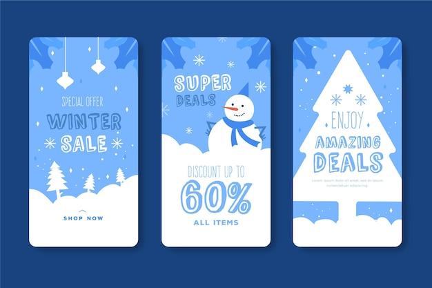 Histórias do instagram de promoções de inverno Vetor grátis