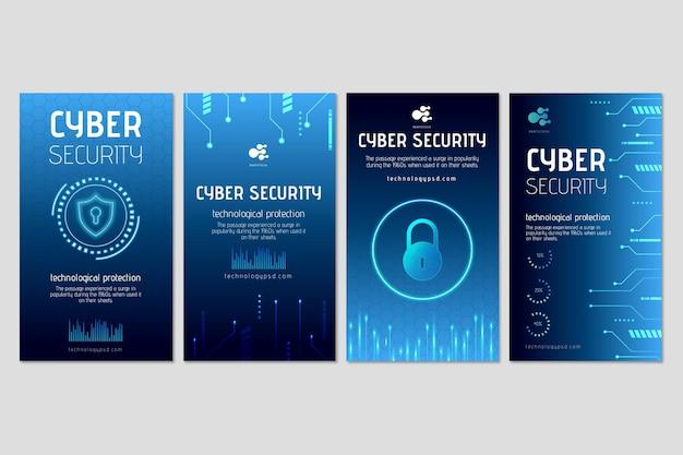 Histórias do instagram sobre segurança cibernética Vetor grátis