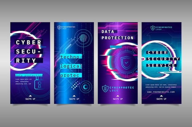 Histórias do instagram sobre segurança cibernética Vetor Premium
