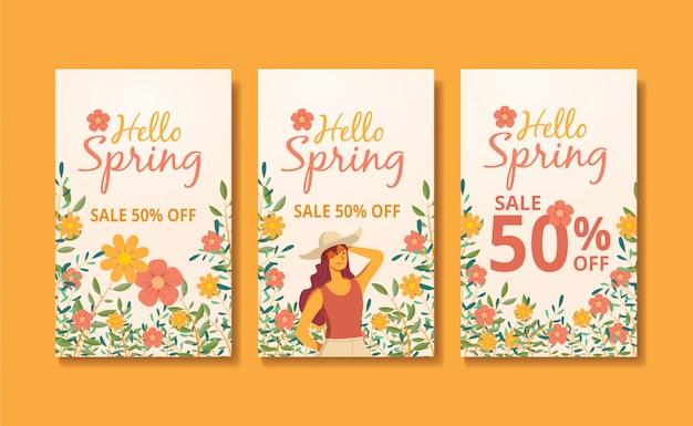 Histórias e feed de primavera banner ilustração Vetor Premium