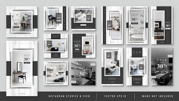 Histórias instagram e alimentação pós modelo minimalista preto furnitur Vetor Premium