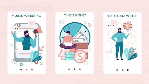 Histórias sociais móveis definidas para aplicativos de negócios Vetor Premium