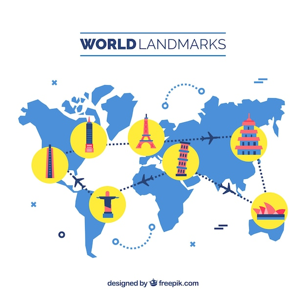 Travel background with landmarks on map vector free download sciox Images