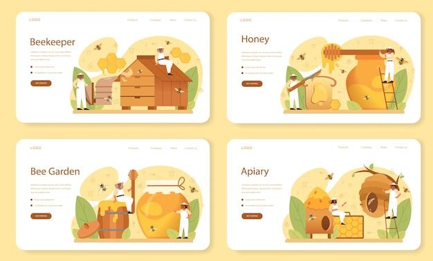 Hiver ou banner da web do apicultor ou conjunto de páginas de destino. Vetor Premium