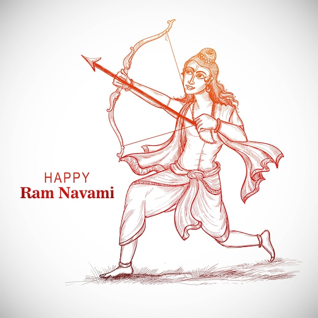 Hnad desenha o esboço do senhor rama com uma flecha matando ravana no festival navratri Vetor grátis