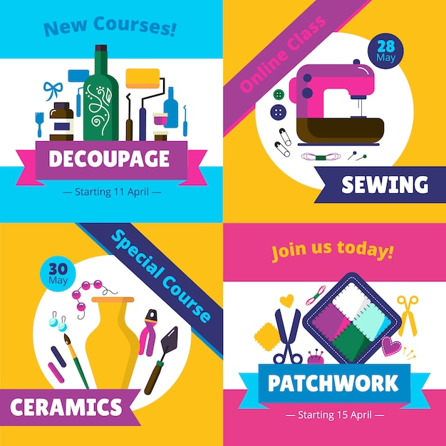 Hobby workshop cursos conjunto de cartas Vetor grátis