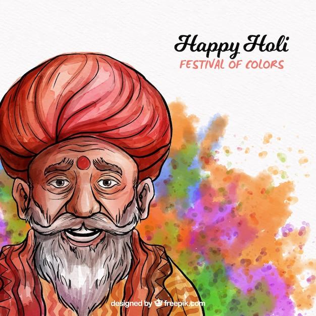 Holi background com guru Vetor grátis