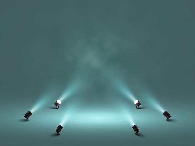 Holofotes com luz branca brilhante brilhando ilustração do palco isolada Vetor Premium