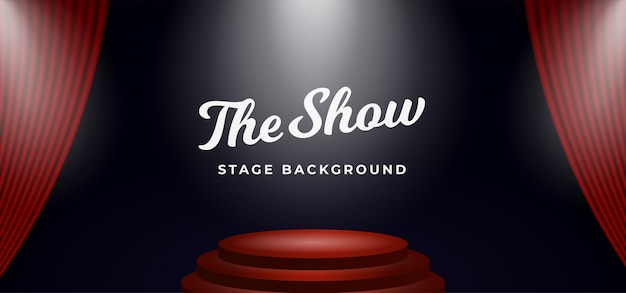 Holofotes do pódio de palco no cenário de cortina de teatro aberto Vetor Premium