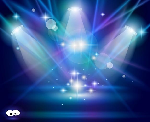 Holofotes mágicos com raios violetas azuis Vetor Premium