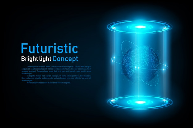 Holograma de conexão do mundo futurista abstrata Vetor Premium