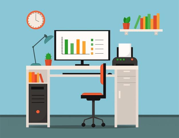Home office, freelance, local de trabalho home interior - mesa, computador, impressora, lâmpada, livros, relógios, plantas e cadeira de escritório. estilo simples. Vetor Premium