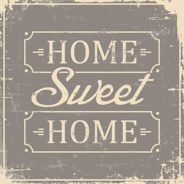 Home sweet home signage retro vintage gasto Vetor Premium