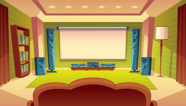 Home theater dos desenhos animados com projetor, sistema de vídeo de áudio no interior do salão. Vetor grátis
