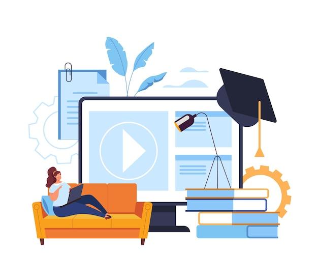Home web aprendizagem online tutorial classe educação conceito Vetor Premium