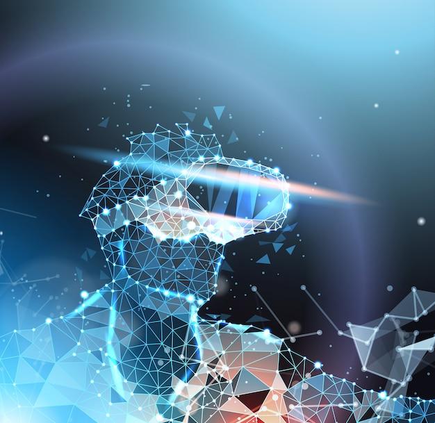 Homem abstrato wireframe em vr headset, realidade virtual e conceito de tecnologia do futuro Vetor Premium
