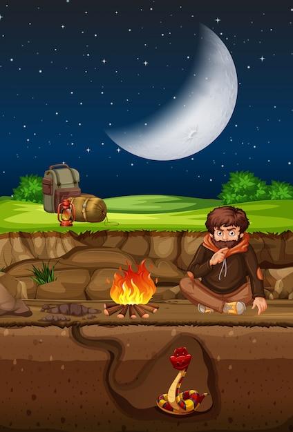 Homem, acampamento, e, cobra, undergound, cena Vetor grátis