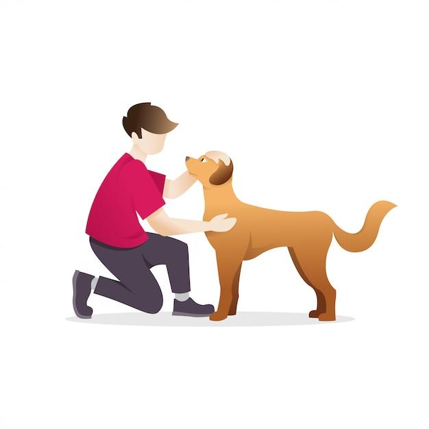 Homem, acariciar, um, cão Vetor Premium