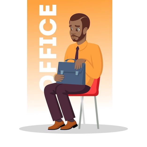 Homem afro-americano barbudo sentado na cadeira com a pasta. homem africano pensativo em traje formal, esperando por uma reunião com um médico, consultor bancário para obter crédito ou entrevista de emprego. . Vetor Premium